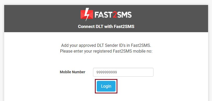 Enter number to login DLT Fast2SMS