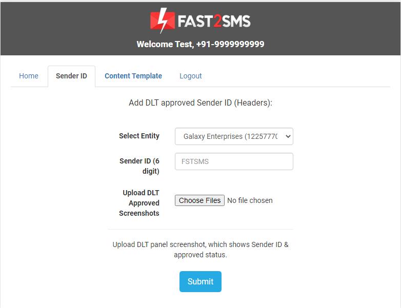 Sender ID DLT Fast2SMS