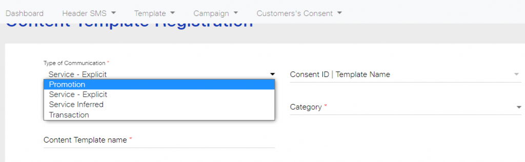 Type of communication in Content Registration