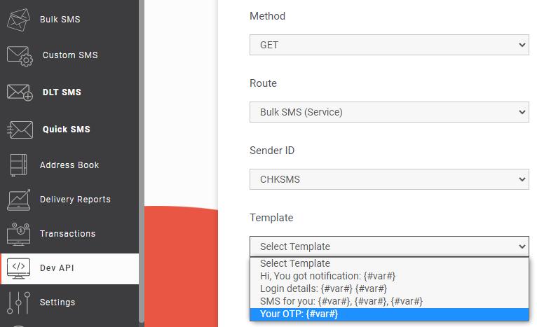 Bulk SMS (Service) route API