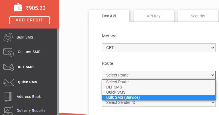 Bulk SMS (Service) route