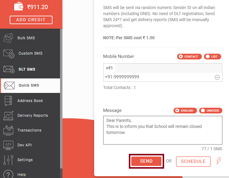 Click send button to send Quick SMS
