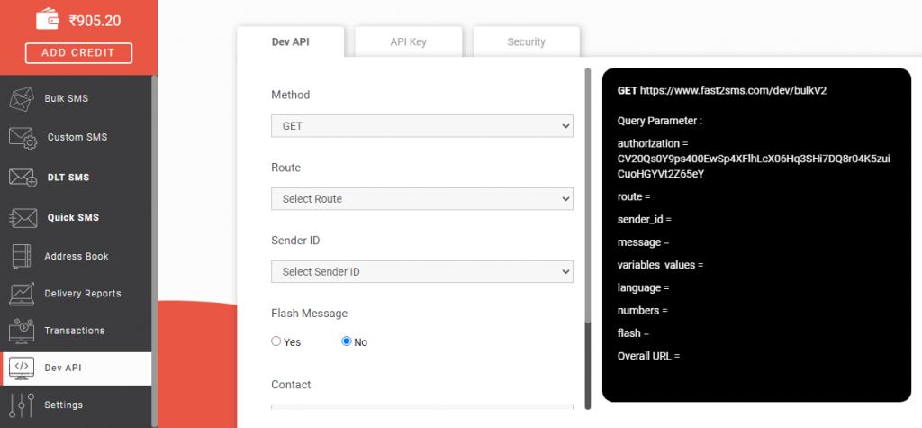 Dev API page