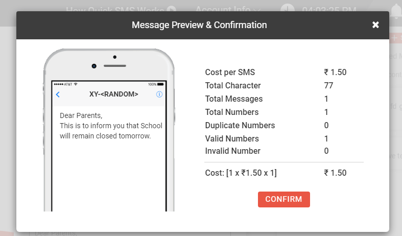 Message preview confirmation