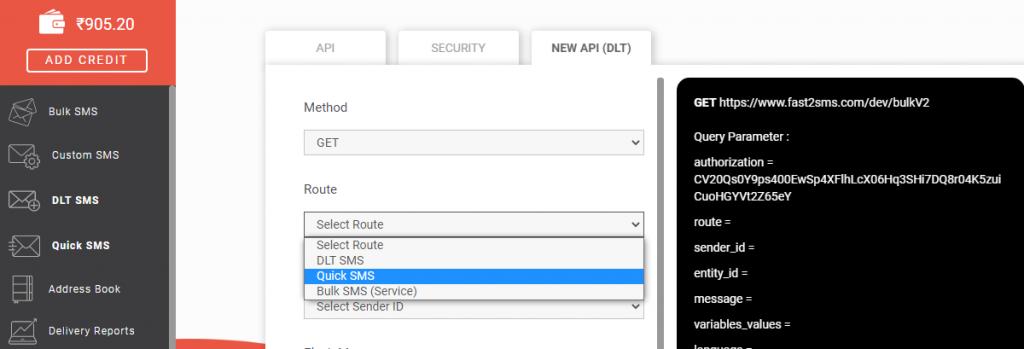 New API Quick SMS