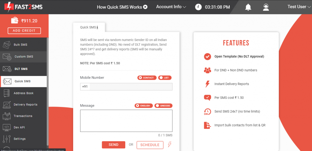 Quick SMS dashboard