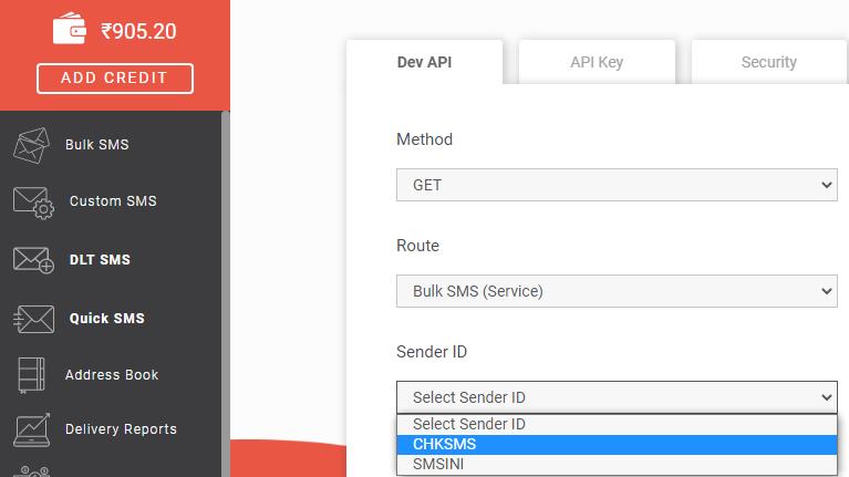 Select Sender ID Bulk SMS (Service)