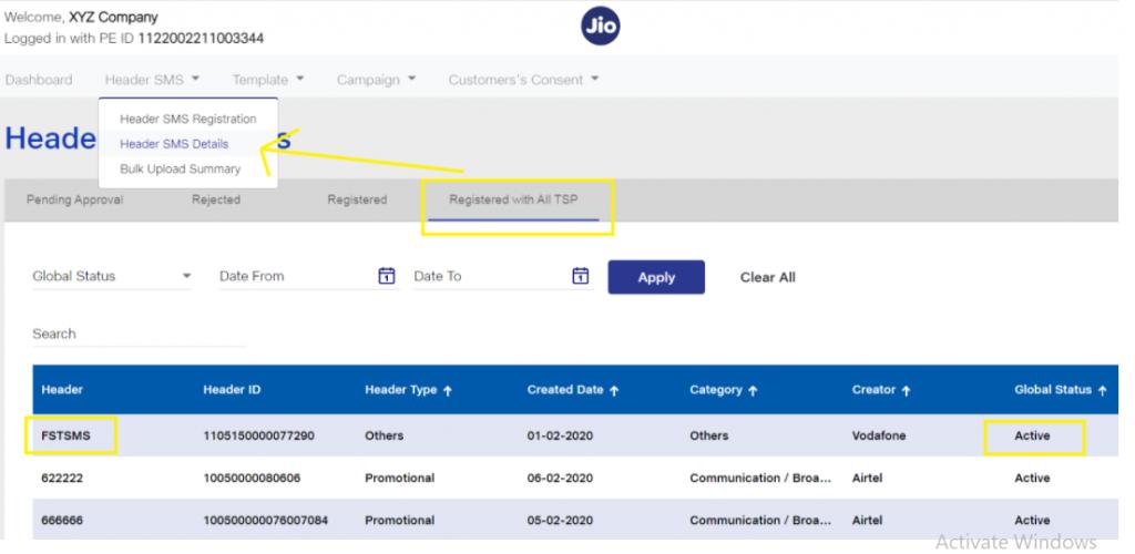 Sender ID screenshot in Jio