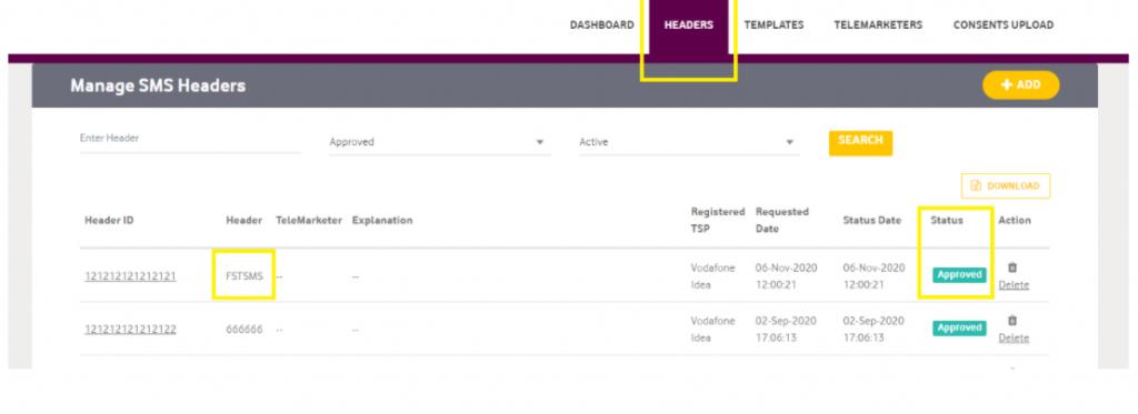 Sender ID screenshot in Vodafone