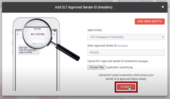 Sender ID submit